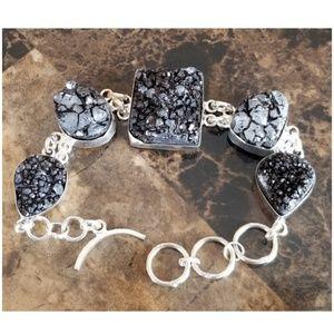 """Jewelry - Black Druzy Bracelet 8.5"""" long"""